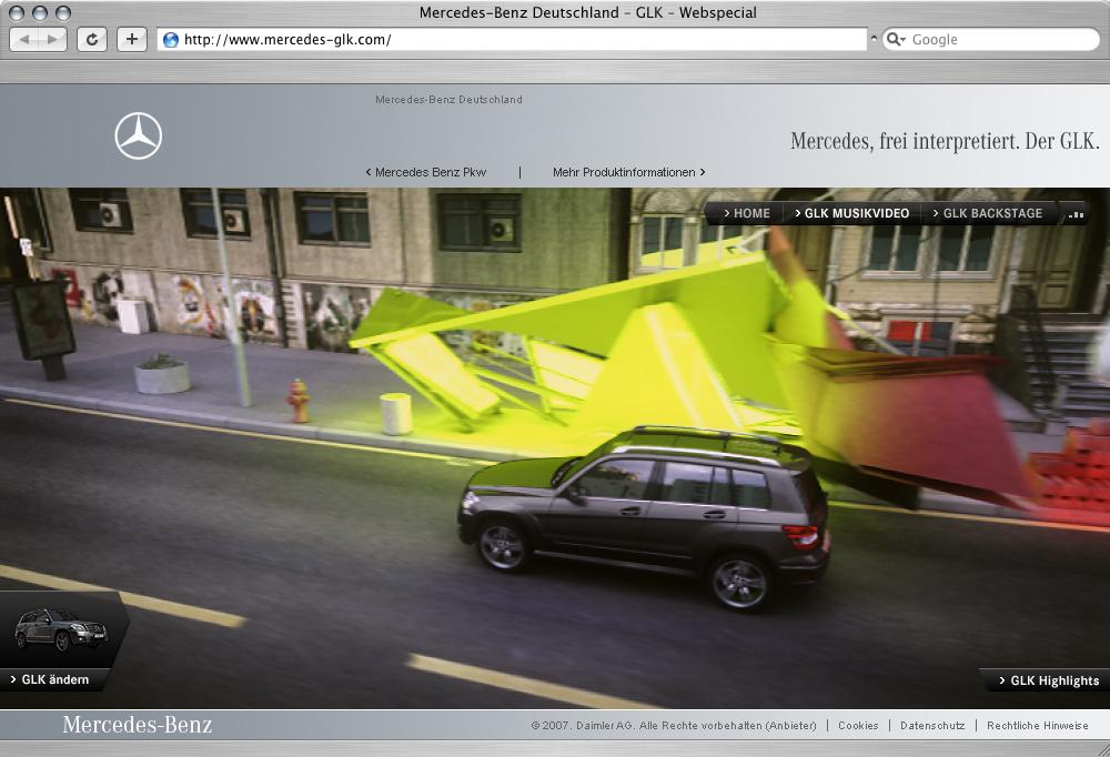 Mercedes-Benz представлена Интерактивная специального веб-сайта для продвижения GLK, рынок - фотография №1