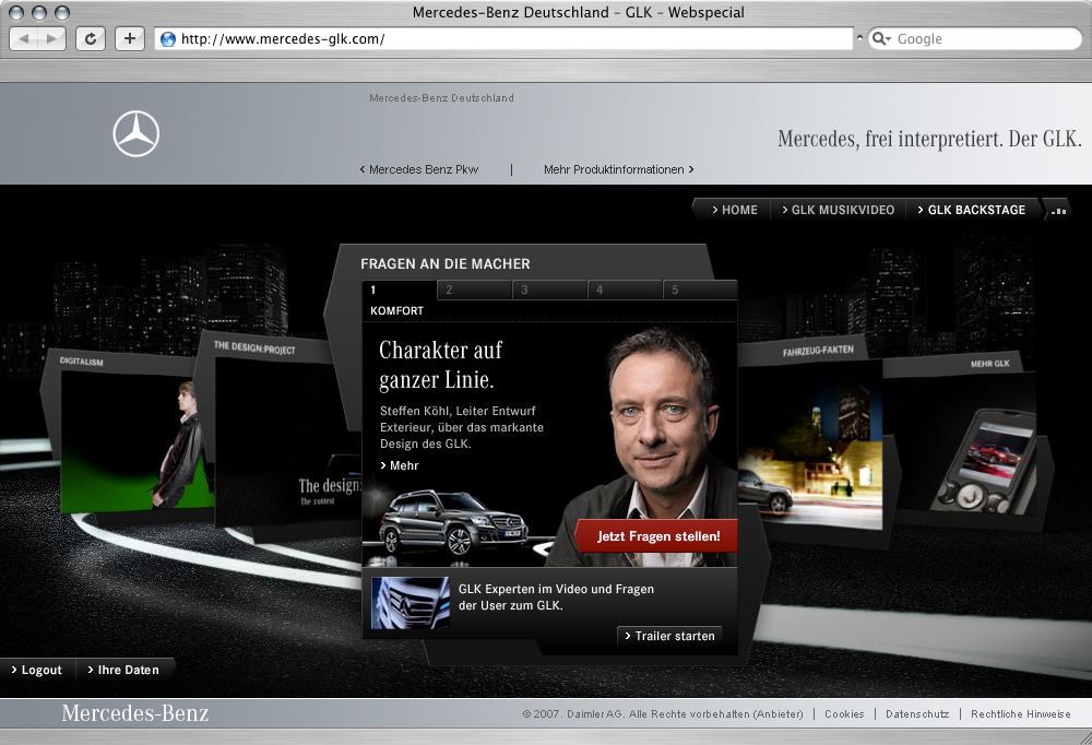 Mercedes-Benz представлена Интерактивная специального веб-сайта для продвижения GLK, рынок - фотография №3